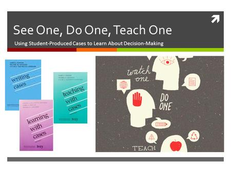  See One, Do One, Teach One Using Student-Produced Cases to Learn About Decision-Making.
