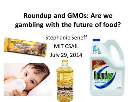 Roundup and GMOs: Are we gambling with the future of food? Stephanie Seneff MIT CSAIL July 29, 2014.