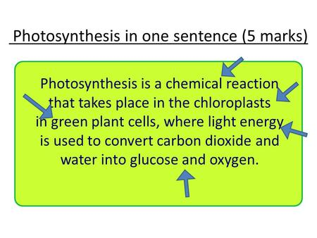Photosynthesis in one sentence (5 marks) Photosynthesis is a chemical reaction that takes place in the chloroplasts in green plant cells, where light energy.