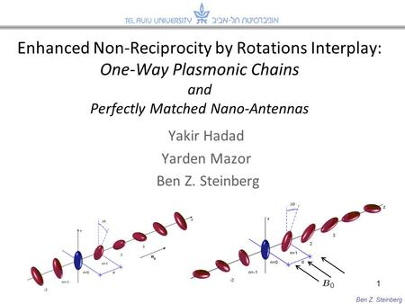 Enhanced Non-Reciprocity by Rotations Interplay: One-Way Plasmonic Chains and Perfectly Matched Nano-Antennas 1 Ben Z. Steinberg Yakir Hadad Yarden Mazor.