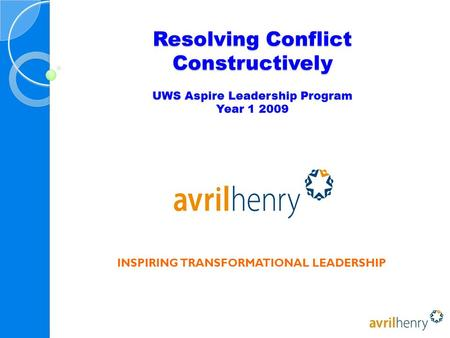 Resolving Conflict Constructively UWS Aspire Leadership Program Year 1 2009 INSPIRING TRANSFORMATIONAL LEADERSHIP.
