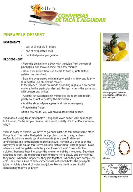 PINEAPPLE DESSERT INGREDIENTS 1 can of pineapple in slices 1 can of evaporated milk 1 packet of pineapple gelatin PROCEDEMENT - Pour the gelatin into a.