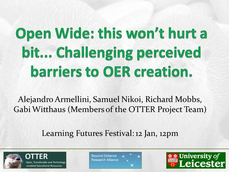 Alejandro Armellini, Samuel Nikoi, Richard Mobbs, Gabi Witthaus (Members of the OTTER Project Team) Learning Futures Festival: 12 Jan, 12pm.