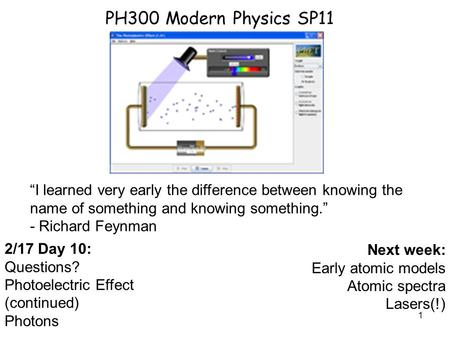 "PH300 Modern Physics SP11 ""I learned very early the difference between knowing the name of something and knowing something."" - Richard Feynman 2/17 Day."