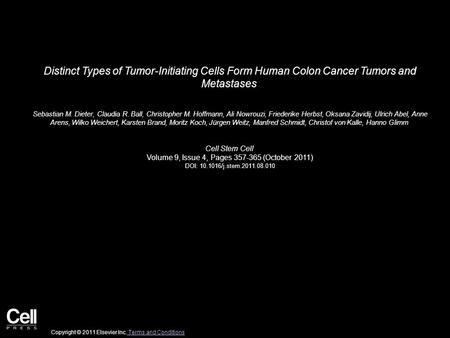 Distinct Types of Tumor-Initiating Cells Form Human Colon Cancer Tumors and Metastases Sebastian M. Dieter, Claudia R. Ball, Christopher M. Hoffmann, Ali.