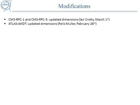 Modifications  CMS-RPC-1 and CMS-RPC-3: updated dimensions (Ian Crotty, March 1 st )  ATLAS-sMDT: updated dimensions (Felix Muller, February 26 th )