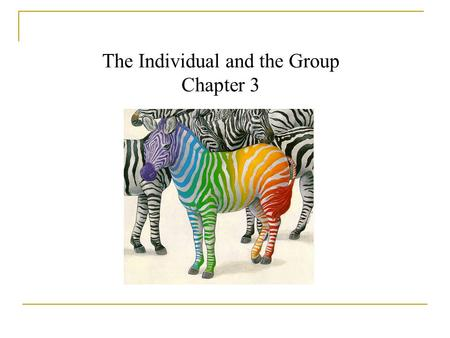 The Individual and the Group Chapter 3.  How social an animal is mankind?  Is homo sapiens communal or individualistic?  Is the self a private, personal.