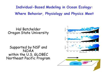 Individual-Based Modeling in Ocean Ecology: Where Behavior, Physiology and Physics Meet Hal Batchelder Oregon State University Supported by NSF and NOAA.