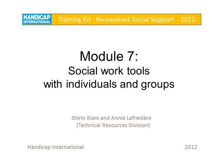 Module 7: Social work tools with individuals and groups