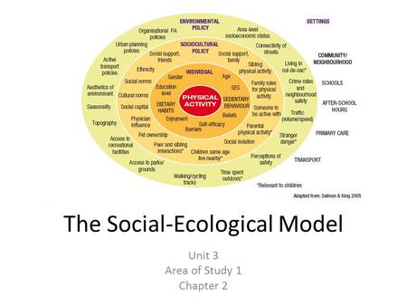 introduction to the socio-ecological model essay Free essay: 1 introduction over the years, there has been an increasing emphasis placed on encouraging singaporeans to adopt a healthy eating lifestyle.