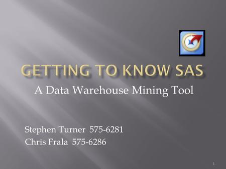 A Data Warehouse Mining Tool Stephen Turner 575-6281 Chris Frala 575-6286 1.