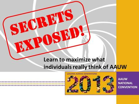 PRESENTATION HEADLINE Presentation Subhead Secrets Exposed! Learn to maximize what individuals really think of AAUW.