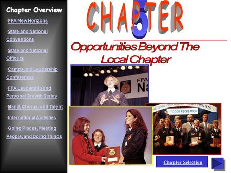 Chapter Overview FFA New Horizons State and National ConventionsState and National Conventions State and National OfficersState and National Officers Camps.