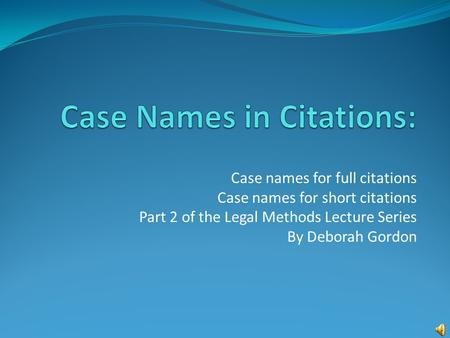 Case Names in Citations: