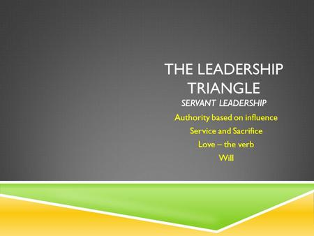THE LEADERSHIP TRIANGLE SERVANT LEADERSHIP Authority based on influence Service and Sacrifice Love – the verb Will.