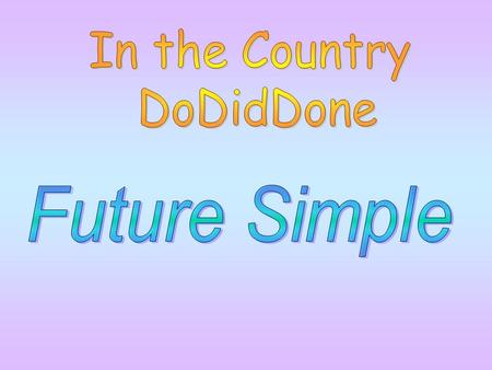In the Country DoDidDone Future Simple.