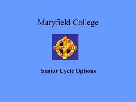 Maryfield College Senior Cycle Options.