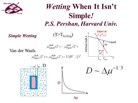 Wetting When It Isn't Simple! P.S. Pershan, Harvard Univ. Simple Wetting Van der Waals (T>T boiling ) D.