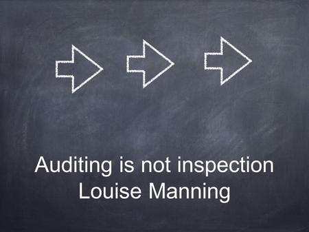 Auditing is not inspection Louise Manning. How long have we been carrying out audits in the food supply chain? What have these audits delivered to the.