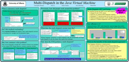 Multi-Dispatch in the Java Virtual Machine TM What is (dynamic) multi-dispatch? Method selection based on the types of … all (or more than one) of the.