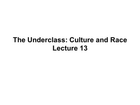 The Underclass: Culture and Race Lecture 13. Today's Readings Schiller Ch. 8: The Underclass: Culture and Race Bane and Mead, Lifting Up the Poor, pp.