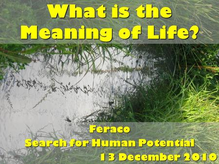 What is the Meaning of Life? Feraco Search for Human Potential 13 December 2010.