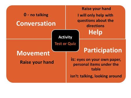 W 0 - no talking Conversation Raise your hand I will only help with questions about the directions Help Movement Raise your hand Participation is: eyes.