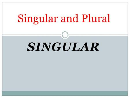 SINGULAR Singular and Plural. We add a or an before the Singular countable Noun 1- We add a to the nouns which start with consonant letter a book a dog.