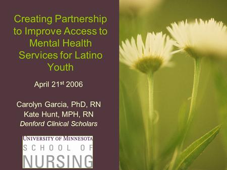 Creating Partnership to Improve Access to Mental Health Services for Latino Youth April 21 st 2006 Carolyn Garcia, PhD, RN Kate Hunt, MPH, RN Denford Clinical.