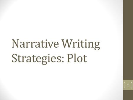 Narrative Writing Strategies: Plot