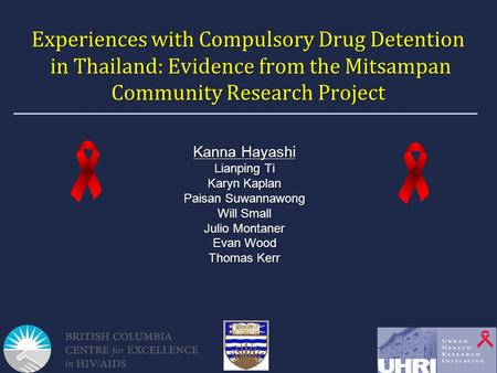 Experiences with Compulsory Drug Detention in Thailand: Evidence from the Mitsampan Community Research Project Kanna Hayashi Lianping Ti Karyn Kaplan Paisan.