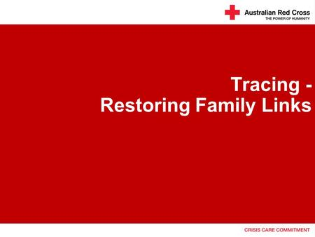 Tracing - Restoring Family Links