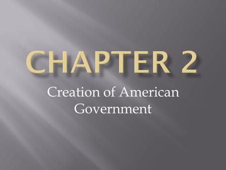 Creation of American Government. A Plan of Government for the New Nation.