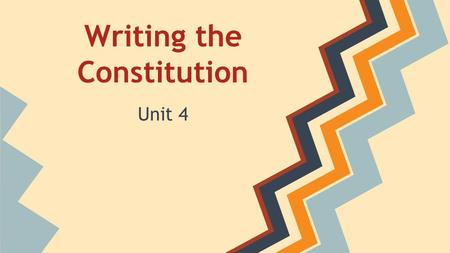 Writing the Constitution Unit 4. Significant Dates: 1776 - The Declaration of Independence 1787- Constitution Written 1788 - Constitution Ratified 1791.