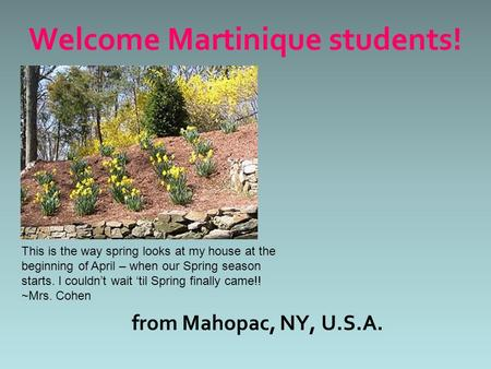 From Mahopac, NY, U.S.A. Welcome Martinique students! This is the way spring looks at my house at the beginning of April – when our Spring season starts.