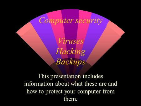 Computer security Viruses Hacking Backups