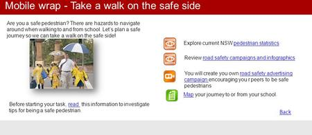 Back Are you a safe pedestrian? There are hazards to navigate around when walking to and from school. Let's plan a safe journey so we can take a walk on.