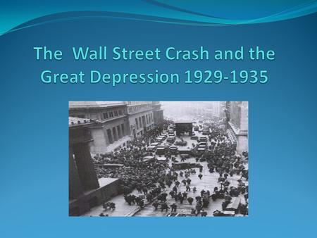 The Roaring Twenties were a time of wealth and excess Stock prices had reached what seemed like a permanently high plateau On 'Black Thursday' October.