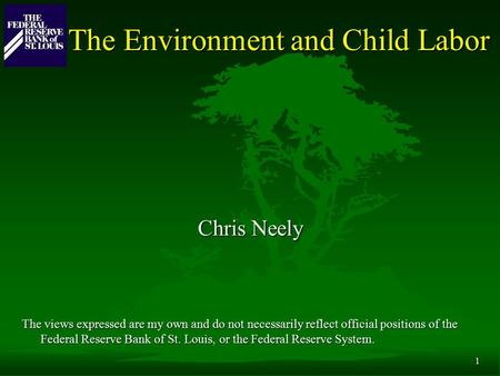 1 The Environment and Child Labor Chris Neely The views expressed are my own and do not necessarily reflect official positions of the Federal Reserve Bank.