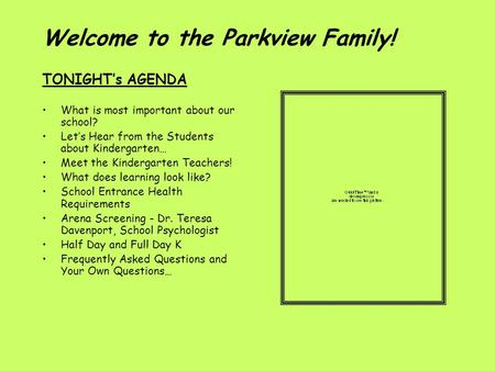Welcome to the Parkview Family!