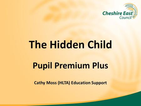 The Hidden Child Pupil Premium Plus Cathy Moss (HLTA) Education Support.