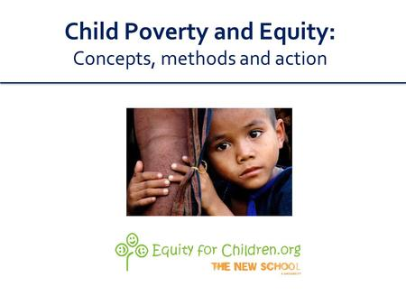 Child Poverty and Equity: Concepts, methods and action.