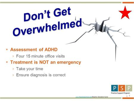 1  Assessment of ADHD › Four 15 minute office visits  Treatment is NOT an emergency › Take your time › Ensure diagnosis is correct 1 www.freedigitalphotos.netwww.freedigitalphotos.net.