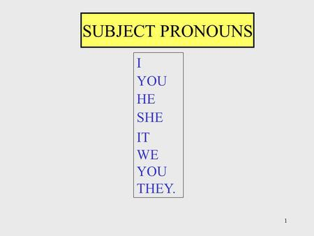 1 SUBJECT PRONOUNS I YOU HE SHE IT WE YOU THEY.. 2 SUBJECT PRONOUNS - ŞAHIS ZAMİRLERİ I--------BEN YOU--SEN, SİZ HE-----O (Erkek) SHE---O (Kız) IT------O.