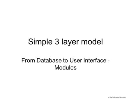Simple 3 layer model From Database to User Interface - Modules © Juhani Välimäki 2004.