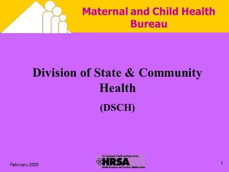 February 2009 1 Maternal and Child Health Bureau Division of State & Community Health (DSCH)
