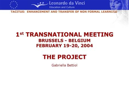1 st TRANSNATIONAL MEETING BRUSSELS - BELGIUM FEBRUARY 19-20, 2004 THE PROJECT Gabriella Bettiol.