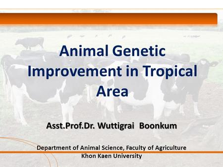 Animal Genetic Improvement in Tropical Area Asst.Prof.Dr. Wuttigrai Boonkum Department of Animal Science, Faculty of Agriculture Khon Kaen University.