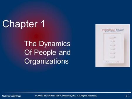 McGraw-Hill/Irwin © 2002 The McGraw-Hill Companies, Inc., All Rights Reserved. 1-1 Chapter 1 The Dynamics Of People and Organizations.