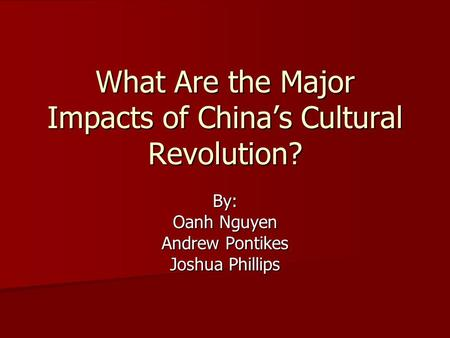 What Are the Major Impacts of China's Cultural Revolution?